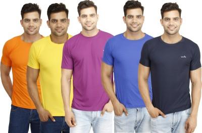 Eprilla Solid Men,s Round Neck Dark Blue, Orange, Purple, Blue, Yellow T-Shirt