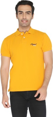 Again Vintage Solid Men's Polo Neck Yellow T-Shirt