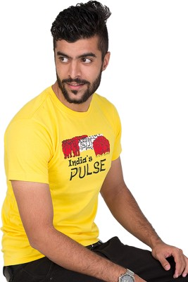 Furious Active Graphic Print Men's Round Neck Yellow T-Shirt