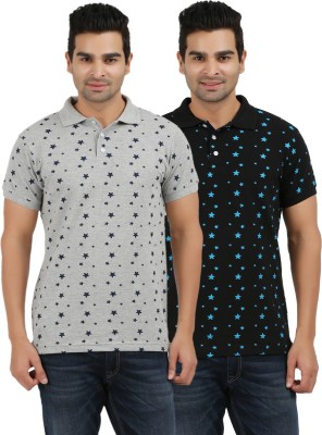 AG Printed Men's Polo Neck Black, Grey T-Shirt