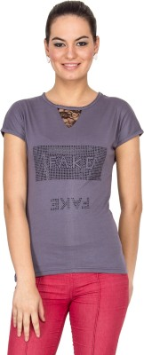 Le Bison Printed Women's Round Neck Grey T-Shirt