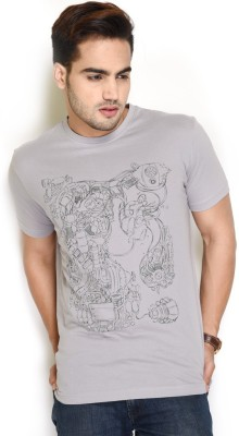 The Glu Affair Printed Men's Round Neck Grey T-Shirt