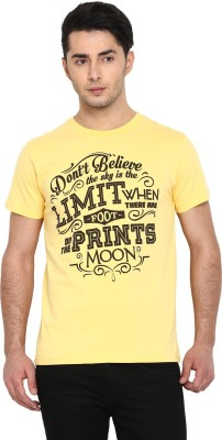 PUT IN Solid Men's Round Neck Yellow T-Shirt
