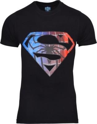 Mangoman Printed Men's Round Neck Black T-Shirt