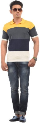 AMX Striped Men's Polo Neck Beige T-Shirt