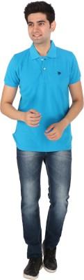Tasho Zaara Solid Men's Polo Neck Blue T-Shirt