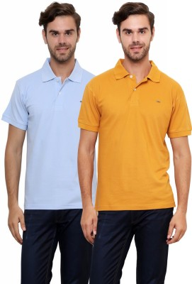Lemon & Vodka Solid Men's Polo Neck Light Blue, Brown T-Shirt