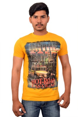YOUTH & STYLE Graphic Print Men's Round Neck Yellow T-Shirt