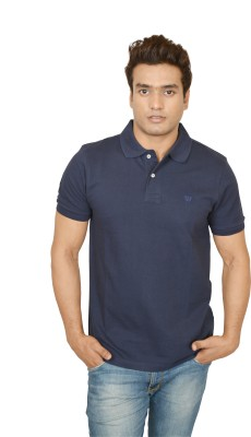 Woodside Solid Men's Polo Dark Blue T-Shirt