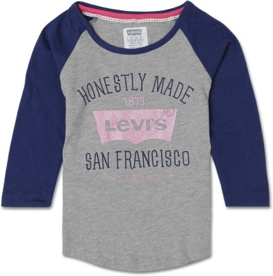 Levis Kids Printed Girl's Round Neck T-Shirt