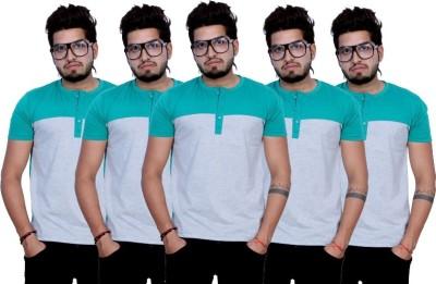 Martech Solid Men's Henley Green T-Shirt