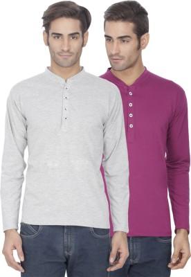 eSOUL Solid Men's Henley Grey, Purple T-Shirt