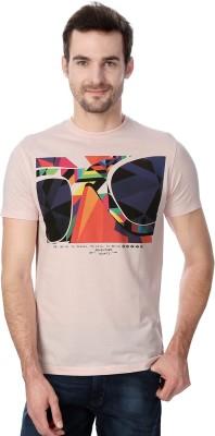 Peter England Printed Men's Round Neck Pink T-Shirt