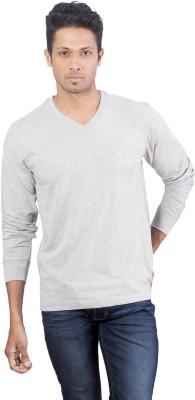 Oviyon Solid Men's V-neck Grey T-Shirt
