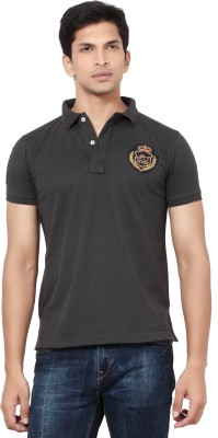 LA Seven Solid Men's Polo Neck Brown T-Shirt