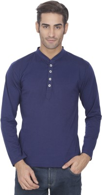 eSOUL Solid Men's Henley Dark Blue T-Shirt