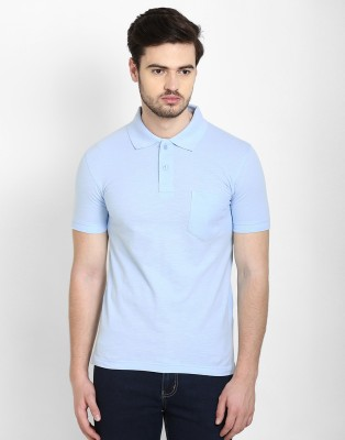 Freak,N by Cotton County Solid Men's Polo Blue T-Shirt