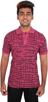 Moxi Printed Men's Polo Neck Pink T-Shirt