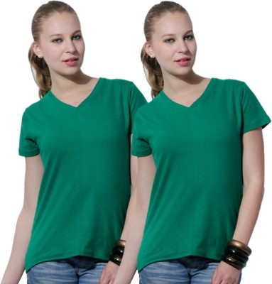 Rakshita,s Collection Solid Women,s V-neck Green T-Shirt