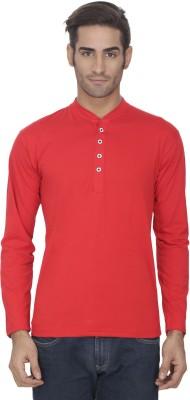 eSOUL Solid Men's Henley Red T-Shirt