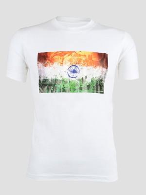 John Caballo Printed Men's Round Neck White T-Shirt