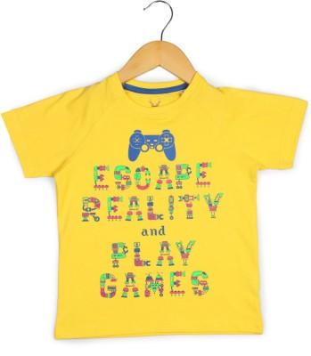 Allen Solly Printed Boy's Round Neck Yellow T-Shirt