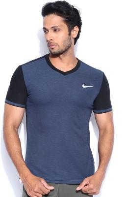 Nike Solid Men's V-neck Dark Blue T-Shirt