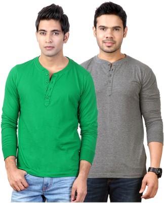 Top Notch Solid Men's Henley Green, Grey T-Shirt