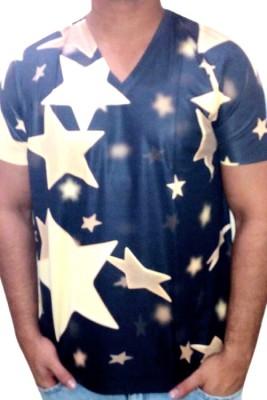 Myfizi Graphic Print Men's V-neck Multicolor T-Shirt