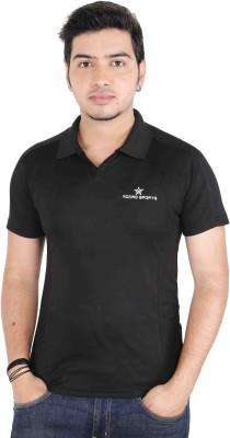 Jbn Creation Solid Men's Polo Neck Black T-Shirt