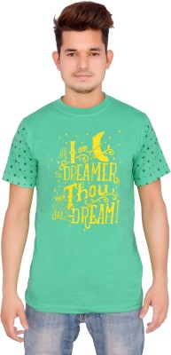 Yellow Sun Printed Men's Round Neck Green T-Shirt