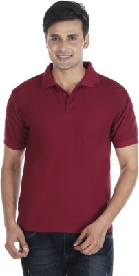 Pikcart Solid Men's Polo Neck Maroon T-Shirt