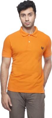 Peerage Solid Men's Polo Neck Orange T-Shirt