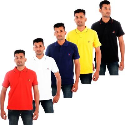 Moladz Solid Men's Polo Neck Multicolor T-Shirt