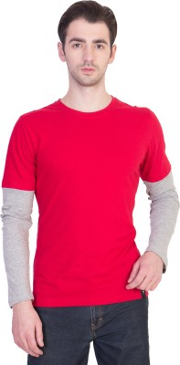 14forty Solid Men's Round Neck Red T-Shirt