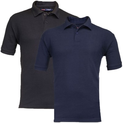 Feed Up Solid Men's Polo Neck Black, Dark Blue T-Shirt