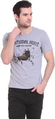 Wild Hawk Graphic Print Men's Round Neck Grey T-Shirt