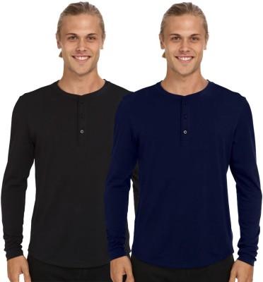 Nicewear Solid Men's Henley Black, Blue T-Shirt