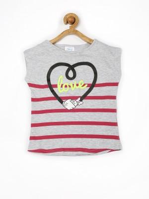 Fox Printed Girl's Round Neck Grey T-Shirt