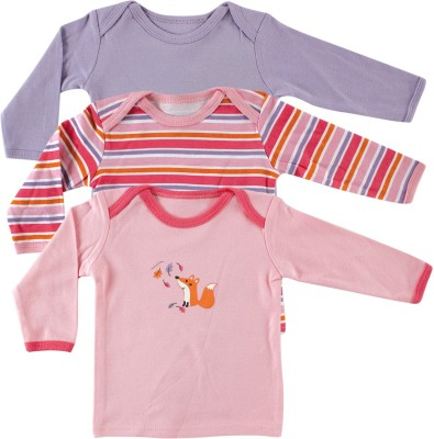 Luvable Friends Solid, Printed, Striped Baby Girl's Round Neck Pink, Purple T-Shirt