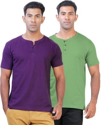 Click Hit Solid Men's Henley Purple, Green T-Shirt