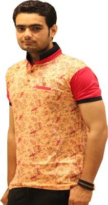 GOPAL EMPORIUM Printed Men's Mandarin Collar Orange T-Shirt