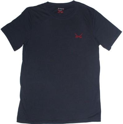 2swords Solid Men,s Round Neck Dark Blue T-Shirt