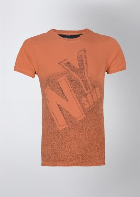 Arrow Printed Men's Round Neck Orange T-Shirt