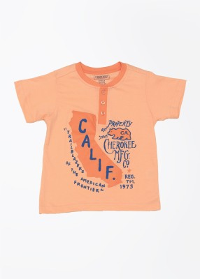 Cherokee Kids Printed Boy's Henley Orange T-Shirt