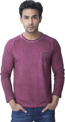 Cult Fiction Solid Men's Round Neck Maroon T-Shirt