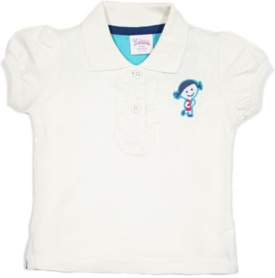 Solittle Embroidered Baby Girl's Polo White T-Shirt