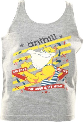 Anthill Graphic Print Boy's Round Neck Grey T-Shirt