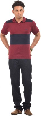 AMX Striped Men's Polo Neck Maroon T-Shirt