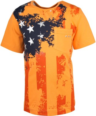 Joshua Tree Printed Boy's Round Neck Orange T-Shirt